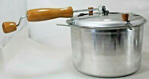 Back to Basics Stove top Popcorn Popper Aluminum & Wooden Crank Handle