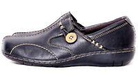 Clarks Bendables Sixty Delta Black Leather Split Toe Slip-On Loafer Womens US 6M