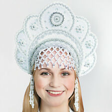 White Kokoshnik Traditional Russian Folk Costume Headdress SnowMaiden Drag Queen