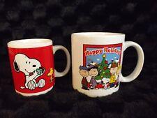 (2) Peanuts Christmas Mugs Snoopy Woodstock Charlie Brown