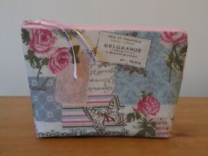 Handmade Make Up Bag Case Vintage Style Butterfly Floral Linen Look Fabric