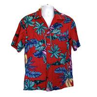 Hilo Hattie Mens Size L Bright Floral Exotic Hawaiian Short Sleeve Shirt Aloha