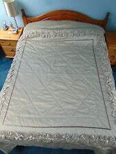 Striking Beige King Bed Throw Bedspread Cover with Beaded Flower Trim