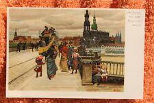 30966 Litho Künstler AK DRESDEN auf der Augustusbrücke Straßenbahn PAUL HEY 1900