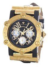 Aqua Master Women's Black Dial Gold Genuine Leather Band Quartz Watch 42mm W#145