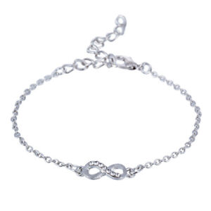 Silver infinity charm bracelet chain design for women bangle wrist decor BB263