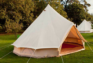 4m Bell Tent | Deluxe | Sewn in groundsheet. Quality canvas tent