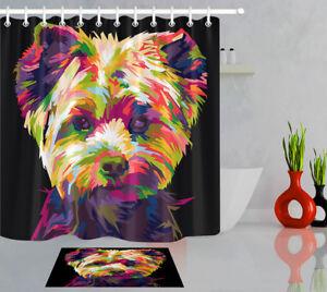 Bathroom Polyester Fabric Shower Curtain Set Pop Art Colorful Shih-tzu Dog 180cm