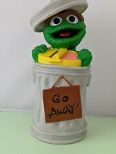 Vintage OSCAR THE GROUCH Sesame Street Plastic ILLCO Toy Piggy Bank