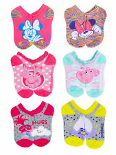 Toddler Girls Minnie Mouse Peppa Pig Trolls Ankle Socks 6-Pairs
