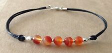 Red STRIPE AGATE Beads, Black Leather Cord, Silver Plated, Friendship Bracelet