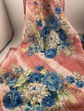 Vintage 1990's Era Ladies' Pink Stripes With Blue & White Floral Print Scarf