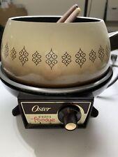 Vintage Retro Oster Porcelain Clad Aluminum Brown Electric Fondue Pot GUC 3705