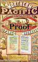 Vintage Northern Pacific Railroad Pioneer Land Grant ad print train Frontier