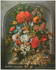 "20"" PRINT Flowers by Waerdigh (1700-1789) ANTIQUE MUSEUM ART - STILL LIFE"