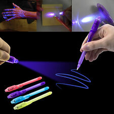 US 12 PCS Invisible Ink Pen With Black Light UV Magic Secret Message Marker New