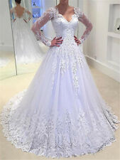 v neck wedding dress for women lace long sleeves a line plus size custom made