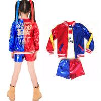 Kids Girls Suicide Squad Harley Quinn Suit Cosplay Coat Shorts Top Set Halloween