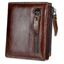 New Genuine Leather Mens Wallet ZIPPER Slim Coin Purse Vintage Retro Style Brown