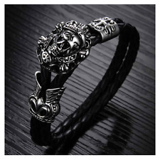 Love Kills Slowly Skull Bracelet, Stainless Steel & Leather, Fathers Day Gift