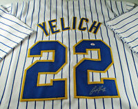 CHRISTIAN YELICH / AUTOGRAPHED MILWAUKEE BREWERS CUSTOM PINSTRIPED JERSEY / COA