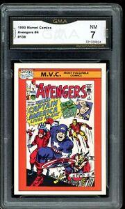 1990 Impel Marvel Comics #4 #136 The Avengers Graded GMA 7 NM COMP TO PSA BGS