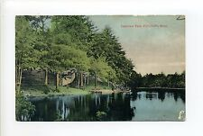 Foxboro MA Mass Lakeview Park, large fence, canoe, antique postcard, 1908