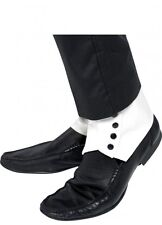 White Spats With Black Buttons 20s Gangster Shoe Covers