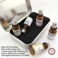 Essential Oil Mini Roller Set -3 mL bottles, Labels, case, Refillable, portable