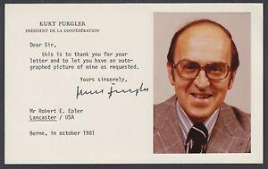 Kurt Furgler, Switzerland President, signed card with color photo, VF