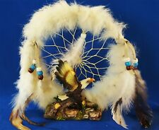 """Eagle Dream Catcher Trimmed In White Fur/Feathers 6 ½"""" x 6 ½"""" x 2"""" ]"""