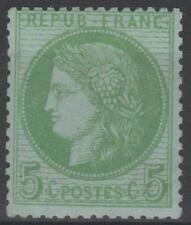 "FRANCE STAMP TIMBRE N° 53 "" CERES 5c VERT-JAUNE SUR AZURE 1872 "" NEUF xx TTB"