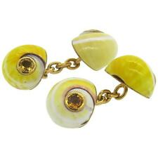 Trianon Shell Citrine 18k Gold Cufflinks $4000