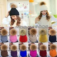 Women Fur 15cm Pom Pom Ball Knit Crochet Baggy Bobble Hat Beanie Beret Ski Cap