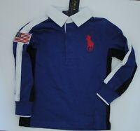 NWT Ralph Lauren Boys LS Big Pony USA Flag Cotton Jersey Rugby Shirt Sz 5 NEW