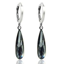 Creolen mit Kristallen von Swarovski® Silber Schwarz Grau NOBEL SCHMUCK