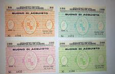 SERIE COMPLETA BUONI DI ACQUISTO TABACCHERIA GAMBETTA ALBANO 1976 FIOR DI STAMPA