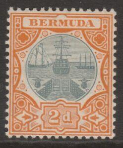 Bermuda MINT 1906-10 2d grey & orange Dry Dock sg39