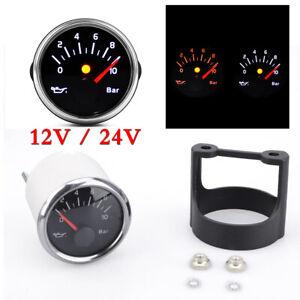 12/24V 52mm Car Truck Instrument Oil Pressure Gauge 0~10BAR Waterproof Universal