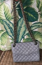 Rebecca Minkoff Grey Quilted Cross Body Leather Chain Flap Bag