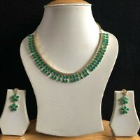 GREEN GOLD COSTUME JEWELLERY NECKLACE EARRINGS AMERICAN DIAMOND CRYSTAL SET NEW