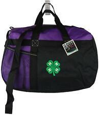 4-H Clover Monogram Purple Gemline Sequel Duffel 4H Club Youth Development Gift