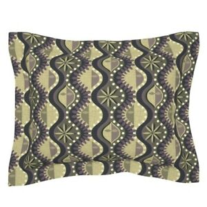 Mid Century Retro Mod Abstract Ogee Purple And Pillow Sham by Roostery