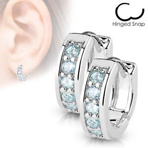 PAIR of 4mm Wide Channel Set CZ Gems Half Circle Hoop Huggies 20g Earrings