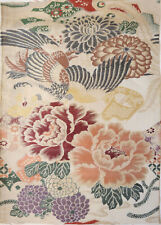 Vintage Japonés Obi Tela Brocade 30cm X 55cm Oro Bambú Crisantemo X376