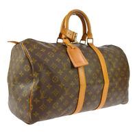 LOUIS VUITTON KEEPALL 45 TRAVEL HAND BAG PURSE MONOGRAM M41428 FH0910 A51365