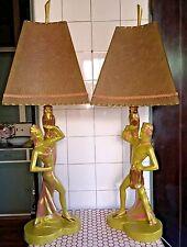 Vintage 1950s 50s L. Benigni Owl Dancers Fiberglass Shades Chalkware Lamps
