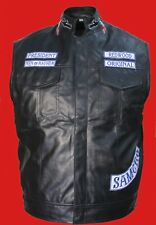 Men's Fashion 100% Pure Leather Warrior Waistcoat Motorcycle Style Black Casual