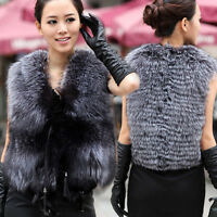 100% Real Genuine Silver Fox Fur Long Vest Gilet Waistcoat Jacket Luxury Warm