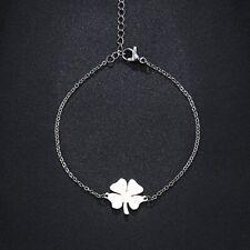 Bracelet TRÈFLE à 4 feuilles porte bonheur lucky charm femme doré ou argenté